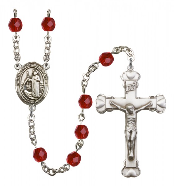 Women's St. Raymond of Penafort Birthstone Rosary - Ruby Red