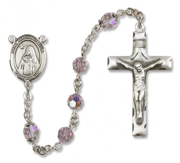 St. Teresa of Avila Sterling Silver Heirloom Rosary Squared Crucifix - Light Amethyst