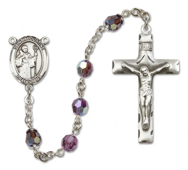 St. Augustine Sterling Silver Heirloom Rosary Squared Crucifix - Amethyst