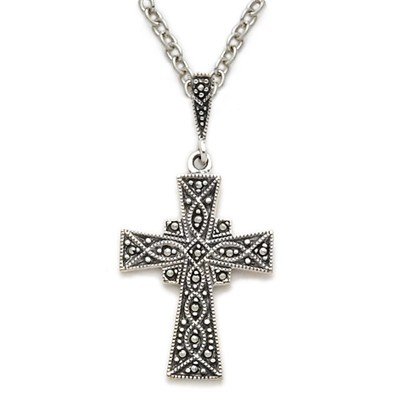 Sterling Silver Cross Necklace with Genuine Antiqued Marcasite Stones - Silver