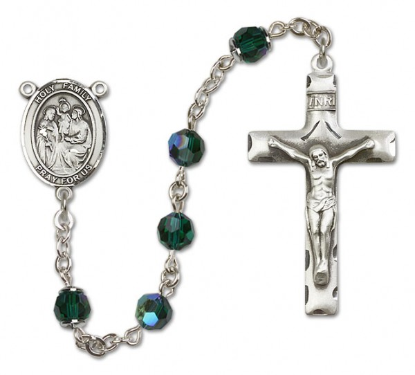 Holy Family Rosary Heirloom Squared Crucifix - Emerald Green