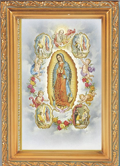 Our Lady Of Guadalupe With Visions Antique Gold Framed Print