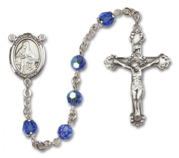 St. Veronica Rosary Heirloom Fancy Crucifix - Sapphire