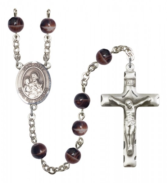 Men's San Jose Silver Plated Rosary - Brown