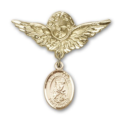 Pin Badge with St. Sarah Charm and Angel with Larger Wings Badge Pin - 14K Yellow Gold