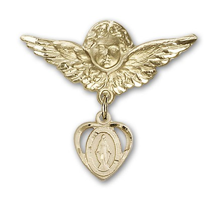 Pin Badge with Miraculous Charm and Angel with Larger Wings Badge Pin - Gold Tone