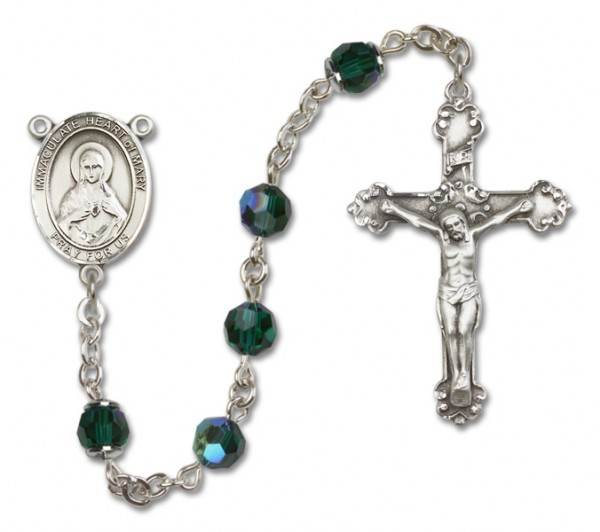 Immaculate Heart of Mary Sterling Silver Heirloom Rosary Fancy Crucifix - Emerald Green