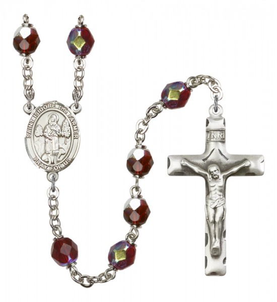 Men's St. Isidore the Farmer Silver Plated Rosary - Garnet