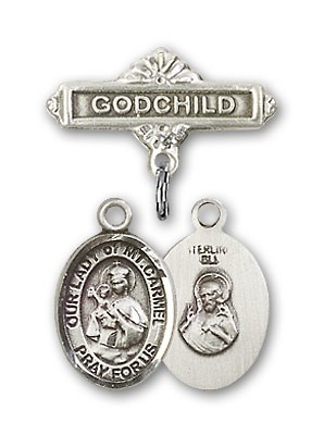 Baby Badge with Our Lady of Mount Carmel Charm and Godchild Badge Pin - Silver tone