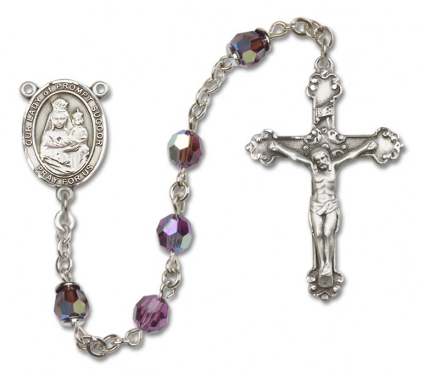 Our Lady of Prompt Succor Sterling Silver Heirloom Rosary Fancy Crucifix - Amethyst