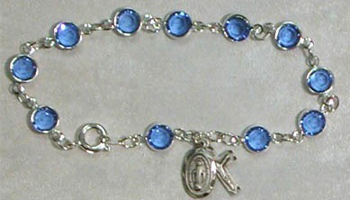 Sterling Silver Rosary Bracelet with Sapphire Austrian Crystal Beads - Sapphire