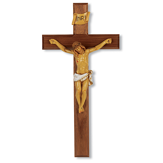 Hand-Painted Corpus Walnut Wall Crucifix - 13 inch - Brown