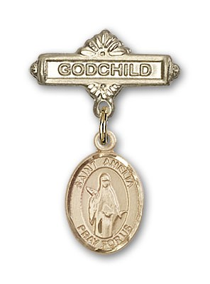 Pin Badge with St. Amelia Charm and Godchild Badge Pin - Gold Tone