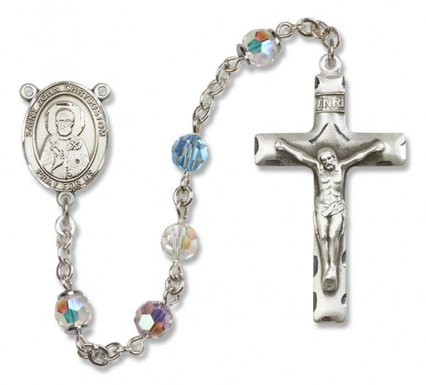 St.  John Chrysostom Sterling Silver Heirloom Rosary Squared Crucifix - Multi-Color