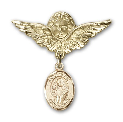 Pin Badge with St. Clare of Assisi Charm and Angel with Larger Wings Badge Pin - 14K Yellow Gold