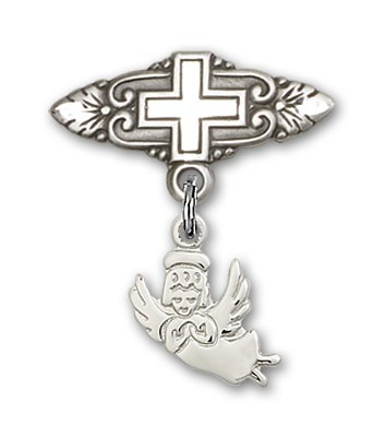 Baby Pin with Guardian Angel Charm and Badge Pin with Cross - Silver tone