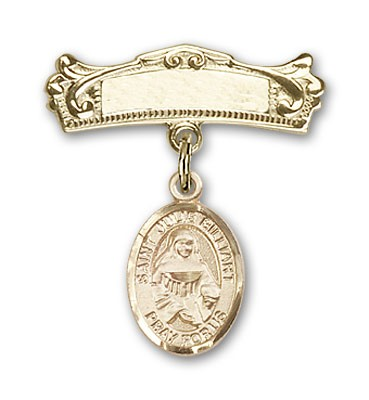 Pin Badge with St. Julie Billiart Charm and Arched Polished Engravable Badge Pin - Gold Tone