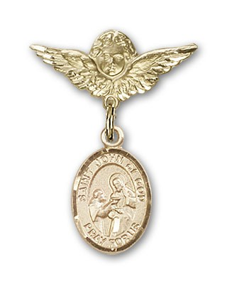 Pin Badge with St. John of God Charm and Angel with Smaller Wings Badge Pin - 14K Solid Gold