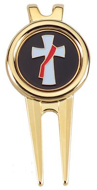 Golf Divet Tool With Deacon's Cross Design - Gold Tone