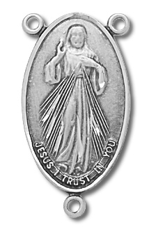 Sterling Silver Sacred Heart Rosary Centerpiece - Sterling Silver