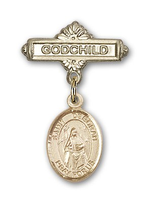Pin Badge with St. Deborah Charm and Godchild Badge Pin - Gold Tone