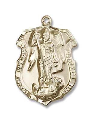 Women's St. Michael the Archangel Badge Shaped Medal - 14K Yellow Gold