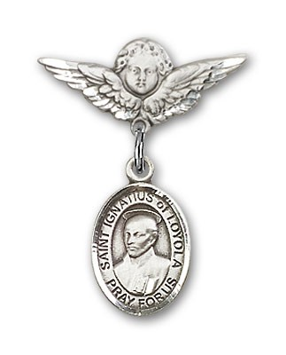 Pin Badge with St. Ignatius Charm and Angel with Smaller Wings Badge Pin - Silver tone