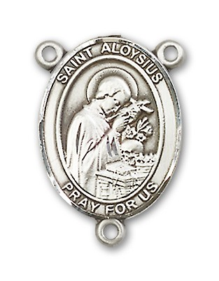 St. Aloysius Gonzaga Rosary Centerpiece Sterling Silver or Pewter - Sterling Silver
