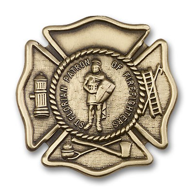 St. Florian Patron Saint of Firefighters Visor Clip - Antique Gold