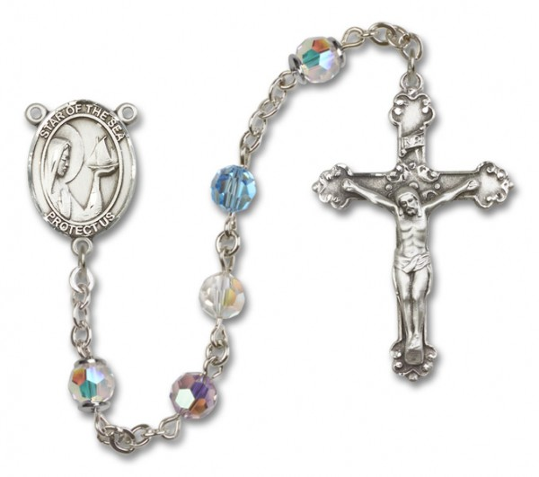 Our Lady of the Sea Sterling Silver Heirloom Rosary Fancy Crucifix - Multi-Color