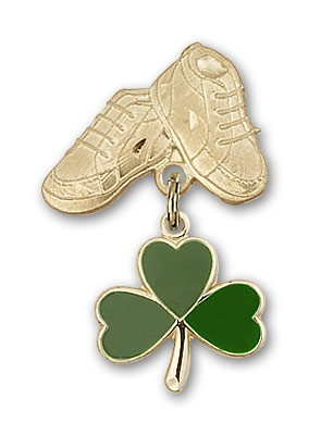 Baby Badge with Shamrock Charm and Baby Boots Pin - Gold Tone