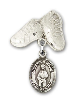 Baby Badge with Our Lady of Hope Charm and Baby Boots Pin - Silver tone