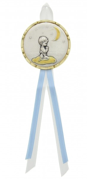 Praying Boy Moon and Stars Crib Medal - Silver | Blue