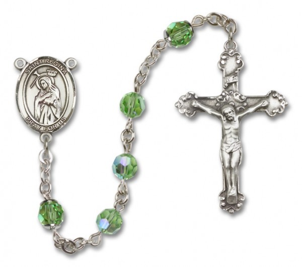 St. Regina Sterling Silver Heirloom Rosary Fancy Crucifix - Peridot