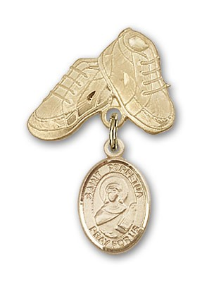 Pin Badge with St. Perpetua Charm and Baby Boots Pin - 14K Solid Gold