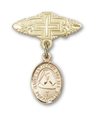 Pin Badge with St. Katherine Drexel Charm and Badge Pin with Cross - 14K Solid Gold