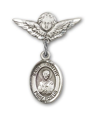 Pin Badge with St. Timothy Charm and Angel with Smaller Wings Badge Pin - Silver tone