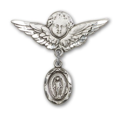 Baby Pin with Miraculous Charm and Angel with Larger Wings Badge Pin - Silver tone