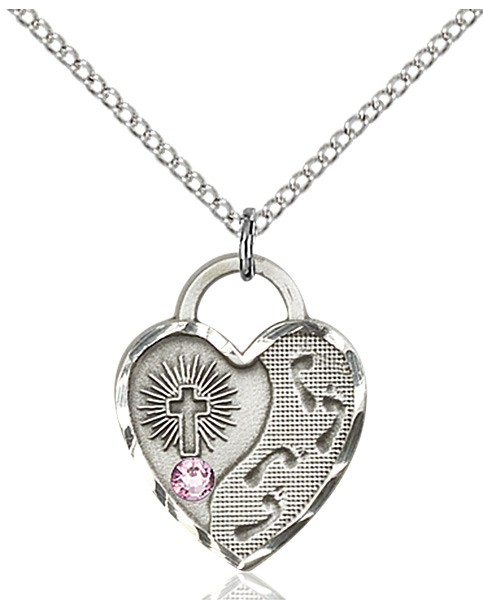 Heart Shaped Footprints Pendant with Birthstone Options - Light Amethyst