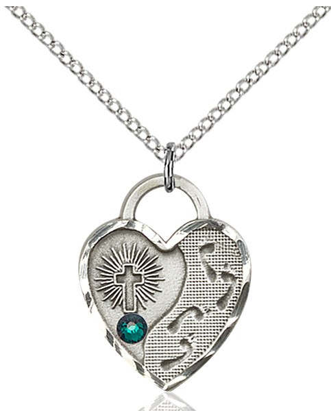 Heart Shaped Footprints Pendant with Birthstone Options - Emerald Green