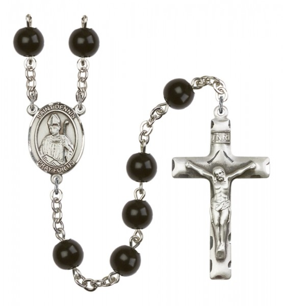 Men's St. Dennis Silver Plated Rosary - Black