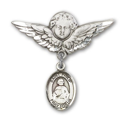 Pin Badge with St. Philip the Apostle Charm and Angel with Larger Wings Badge Pin - Silver tone