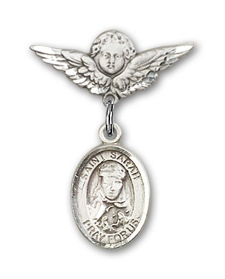 Pin Badge with St. Sarah Charm and Angel with Smaller Wings Badge Pin - Silver tone