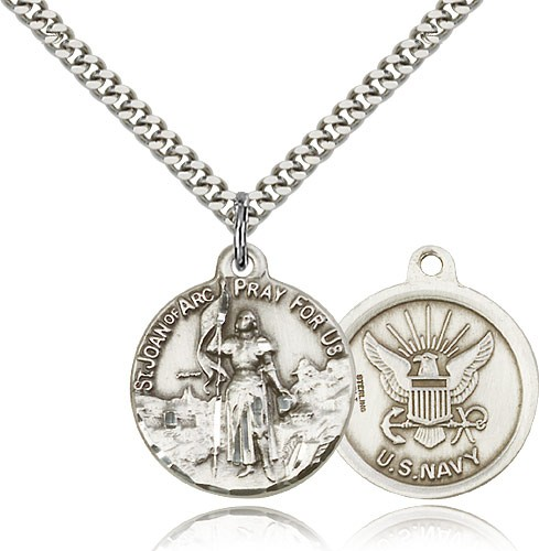 Navy St. Joan of Arc Medal - Sterling Silver