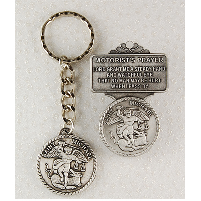 St. Michael Matching Key Ring and Visor Clip Set - Silver