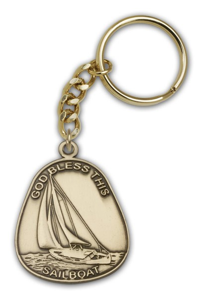 God Bless This Sailboat Keychain - Antique Gold