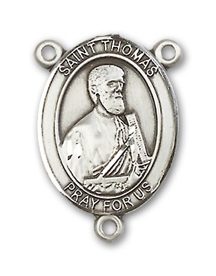 St. Thomas the Apostle Rosary Centerpiece Sterling Silver or Pewter - Sterling Silver