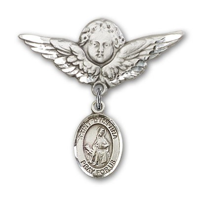 Pin Badge with St. Dymphna Charm and Angel with Larger Wings Badge Pin - Silver tone
