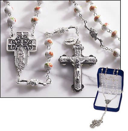 Our Lady of Guadalupe Glass Rosary - Multi-Color