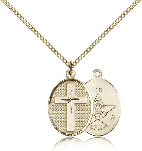 Cross Army Pendant - 14KT Gold Filled